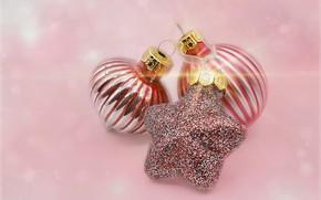 Картинка Рождество, Новый год, розовый фон, ёлочные украшения, ёлочные игрушки