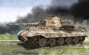 Картинка Дым, Танк, 505 тяжелый танковый батальон, Тяжелый танк, Короле́вский тигр, Бронетехника, Pz.Kpfw.VI Ausf.B