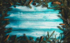 Картинка фон, дерево, доски, елка, Новый Год, Рождество, Christmas, шишки, wood, blue, background, New Year, decoration, ...