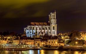Картинка ночь, река, Париж, собор, Paris, предместье, Mantes La Jolie cathedral