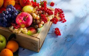 Обои ягоды, яблоки, виноград, фрукты, ящик, смородина