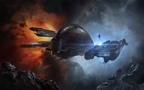 Картинка туманность, человек, астероиды, Космос, space, битва, труп, космический корабль, eve online, battle, space ship, космоопера