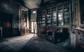 Картинка комната, кресло, библиотека