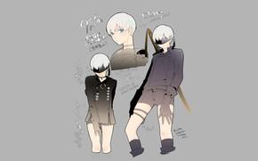 Картинка фон, мальчик, парень, Nier Automata, YoRHa No 9 Type S