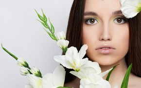 Картинка взгляд, цветы, крупный план, фон, портрет, макияж, прическа, шатенка, красотка, белые, эустома