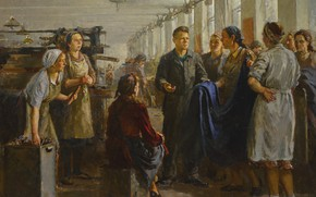 Картинка Boris Moiseevich Zelenyi, signed in Cyrillic and dated 50 l.l., 1916- AT THE TEXTILE MILL …