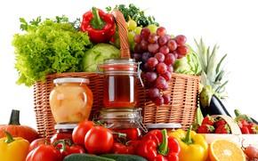 Картинка корзина, апельсины, клубника, мед, виноград, перец, фрукты, помидоры