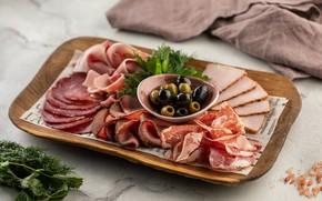 Картинка оливки, колбаса, мясная нарезка
