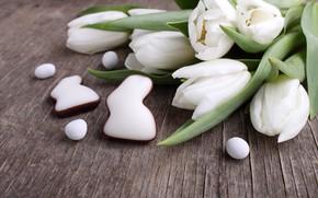 Картинка праздник, весна, кролик, пасха, тюльпаны, пряники