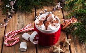 Картинка украшения, Новый Год, Рождество, christmas, wood, cup, merry, какао, decoration, fir tree, hot chocolate, marshmallow, …
