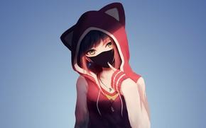 Картинка Pink, Girl, Art, Anime, Shadow, Urban style, Cute, Pretty, Hood, Sweater, Necklace, Earrings, Surgical mask, …