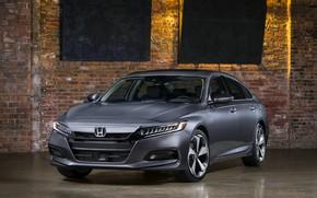 Картинка свет, кирпич, Honda, Accord, седан, 2018, Touring, 2.0T, четырёхдверный, тёмно-серый