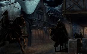 Картинка Властелин Колец, J.R.R. Tolkien, Назгулы, Чёрные всадники, Пригорье, Бри