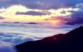 Картинка sky, landscape, nature, clouds, mountain, Sunrise, bokeh, sunlight, mist