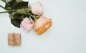 Картинка цветы, подарок, розы, букет, pink, flowers, roses, gift box