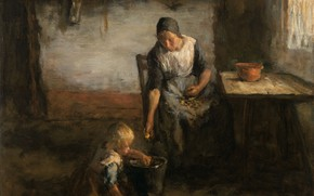 Картинка масло, картина, холст, 1922, Джейкоб Саймон Хендрик Кевер, Jacob Simon Hendrik Kever, Чистка картофеля