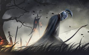 Картинка sword, fantasy, soldier, rain, tree, Spartan, weapons, bow, artwork, warrior, fantasy art, helmet, kneeling, banner, …
