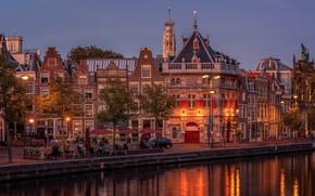 Картинка река, дома, Амстердам, кафе, Нидерланды, набережная, Голландия