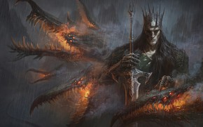 Картинка меч, существо, арт, Fantasy, art, Alexander Skripnikov, Тёмное фэнтези