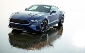 Картинка Mustang, Ford, вид спереди, 2018, Bullitt, Kona Blue