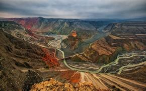 Картинка горы, река, каньон, панорама