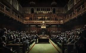 Картинка картина, Бэнкси, Devolved Parliament, Обезьяны в британском парламенте