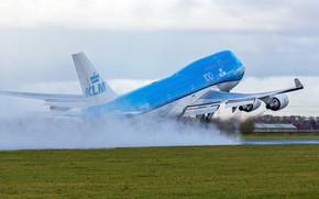 Картинка Самолет, Boeing, Взлет, ВПП, Авиалайнер, Boeing 747, KLM, Пассажирский самолёт, Boeing 747-400, Royal Dutch Airlines, …