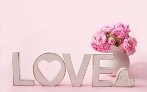 Картинка любовь, цветы, Love, букет, ваза, сердечко