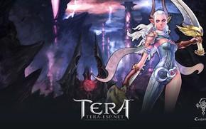 Картинка девушка, демон, воин, рога, Tera