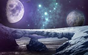 Картинка космос, звезды, пейзаж, фантастика, планеты, льдины, иной мир, космический корабль, летающая тарелка, природв, чужая земля, …