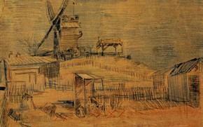 Картинка Gardens on Montmartre, and the Blute-Fin, Винсент ван Гог, Windmill