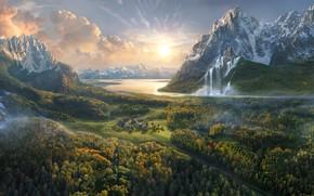 Картинка горы, озеро, водопад, долина, городок, Olga Antonenko