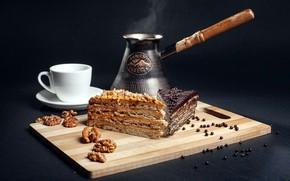 Картинка кофе, чашка, пирожное, орехи, сладкое, турка