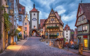 Картинка улица, здания, башня, дома, Германия, Бавария, площадь, мостовая, Germany, Bavaria, Rothenburg, Ротенбург, Plönlein, Площадь Плёнляйн, …