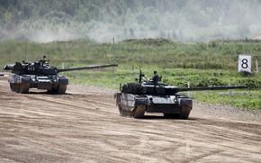 Картинка полигон, танки, стрельбы, Т-80У, Т-80БВМ, армия России, Forum «ARMY 2018»