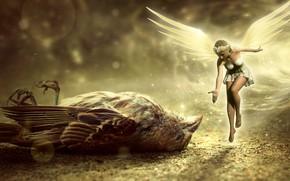 Картинка фея, воробей, девочка, птичка