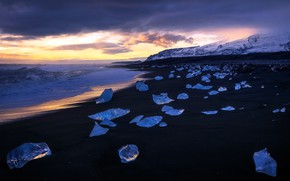 Картинка light, winter, iceland, Diamonds strewn