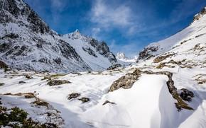 Картинка зима, снег, скалы, Франция, Pyrenees