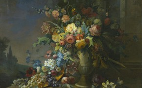 Картинка цветы, розы, букет, виноград, ваза, персики, мальва