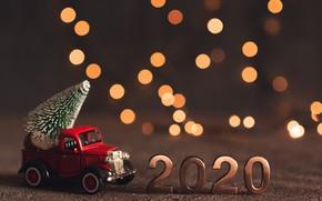 Картинка фон, елка, Новый год, машинка, декор, 2020