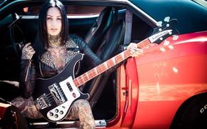 Картинка девушка, музыка, гитара, Femke Fatale, inkedgirl
