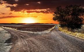 Картинка дорога, закат, развилка