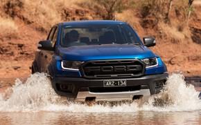 Картинка вода, синий, Ford, Raptor, пикап, 2018, Ranger, брод