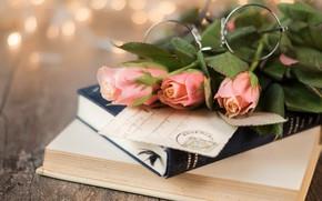 Картинка фон, книги, розы, букет, очки