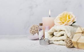 Картинка цветок, полотенце, свечи, мыло, спа, арома масло
