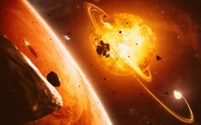 Картинка Солнце, Звезды, Планета, Космос, Звезда, Взрыв, Осколки, Кольцо, Star, Арт, Stars, Space, Art, Кольца, Planet, …