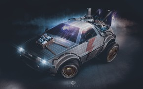 Картинка DeLorean DMC-12, Art, DeLorean, DMC-12, fanart, Back to the Future, Synth, Retrowave, Synthwave, Transport & ...
