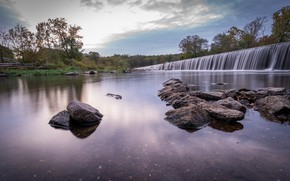 Картинка деревья, река, камни, водопад, North Carolina, Северная Каролина, Бинум, Bynum, Река Хоу, Плотина реки Хоу, …
