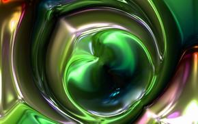 Картинка линии, абстракция, зеленый, пузыри, блеск, вещество, плазма, плавление, диффузия, перемешивание, вздутие, округлые формы