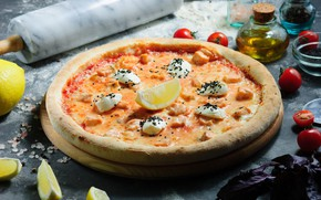 Картинка лимон, масло, пицца, помидоры, соль, базилик, моцарелла